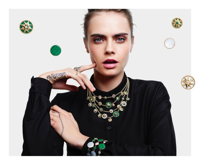 Showing off gems, Cara Delevingne fronts Dior Lucky Charms 2020 jewelry campaign.