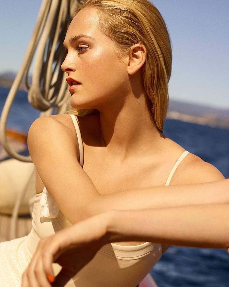 Jean Campbell soaks up the sun in Chanel Les Beiges Summer of Glow 2020 campaign.