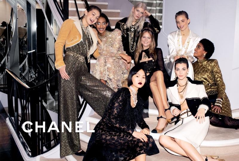 Gigi Hadid, Mona Tougaard, Ola Rudnicka, Anna Ewers, Rebecca Leigh Longendyke, Pan Haowen, and Blesyna Minher star in Chanel pre-fall 2020 campaign.