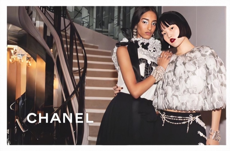 Mona Tougaard and Pan Haowen front Chanel pre-fall 2020 campaign.