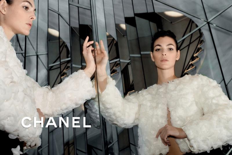 Vittoria Ceretti poses for Chanel pre-fall 2020 campaign.