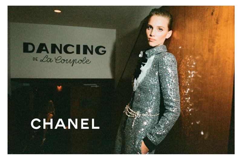 Model Rebecca Leigh Longendyke poses for Chanel pre-fall 2020 campaign.