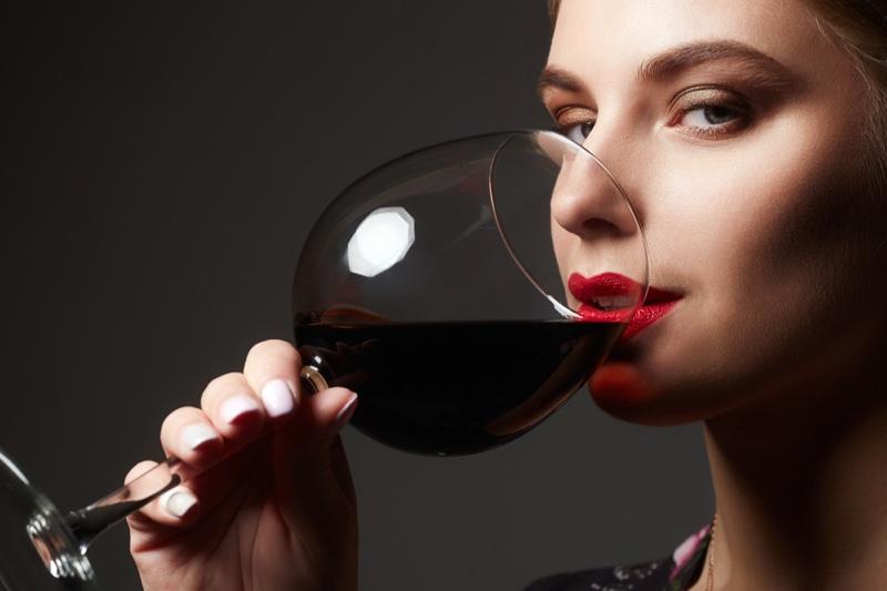 Closeup Model Drinking Red Wine Glass