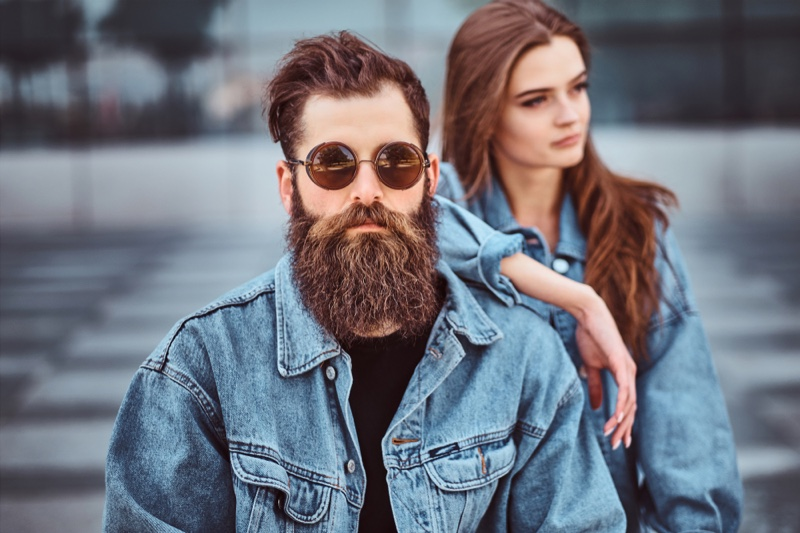 Couple Denim Jacket Man Beard Sunglasses Woman