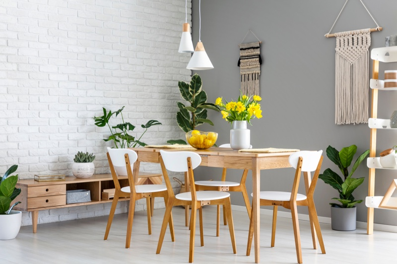 Dining Table Lemon Bowl Chairs Flowers Plants