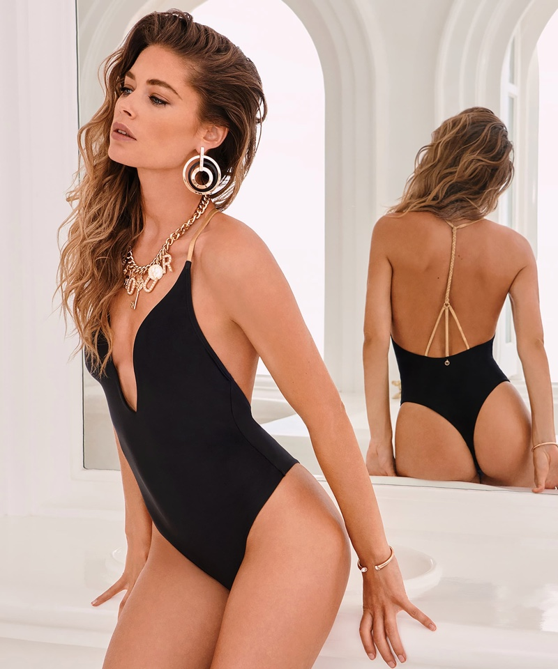 Supermodel Doutzen Kroes wears Doutzen Stories Hunkemoller one-piece swimsuit.