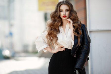 Fashionable Model Shirt Leather Jacket Long Wavy Hair