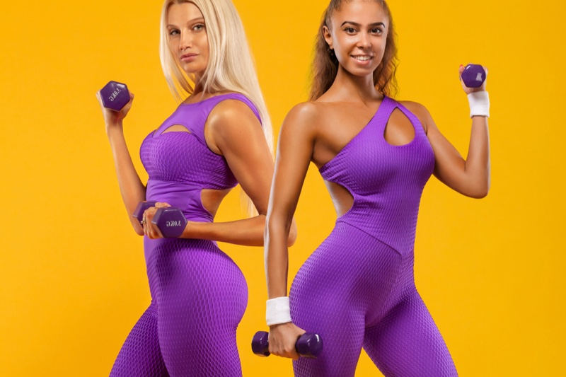 Fitness Models Purple Outfits Athletic