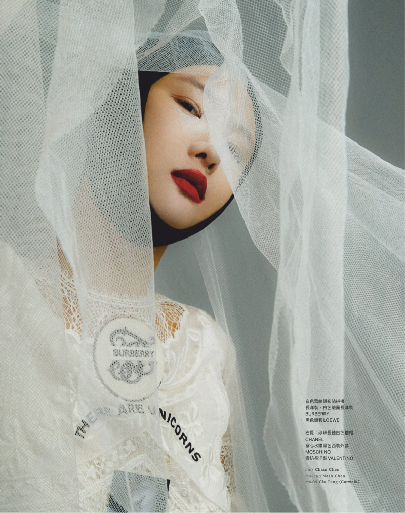 Gia Tang Wears Elegant Looks for Vogue Taiwan