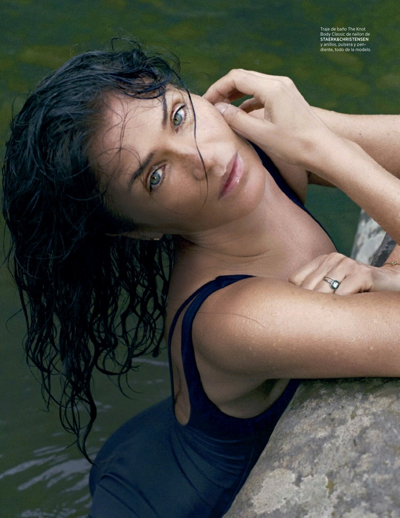 Helena Christensen Takes a Dip in Harper's Bazaar Spain