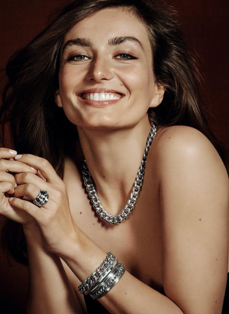All smiles, Andreea Diaconu models silver David Yurman jewelry from Holt Renfrew.