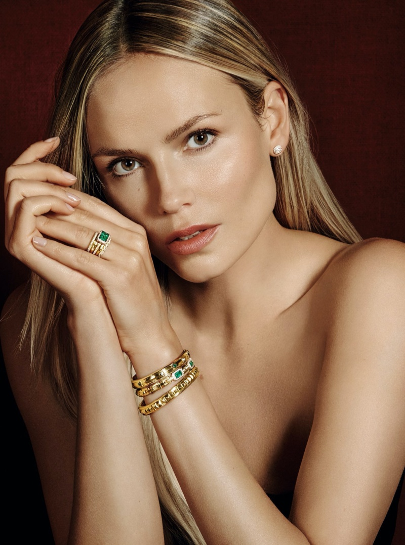 Natasha Poly poses in David Yurman emeralds and diamonds for Holt Renfrew.