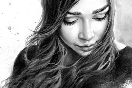 Illustration Painting Black & White Closeup Woman Long Dark Hair