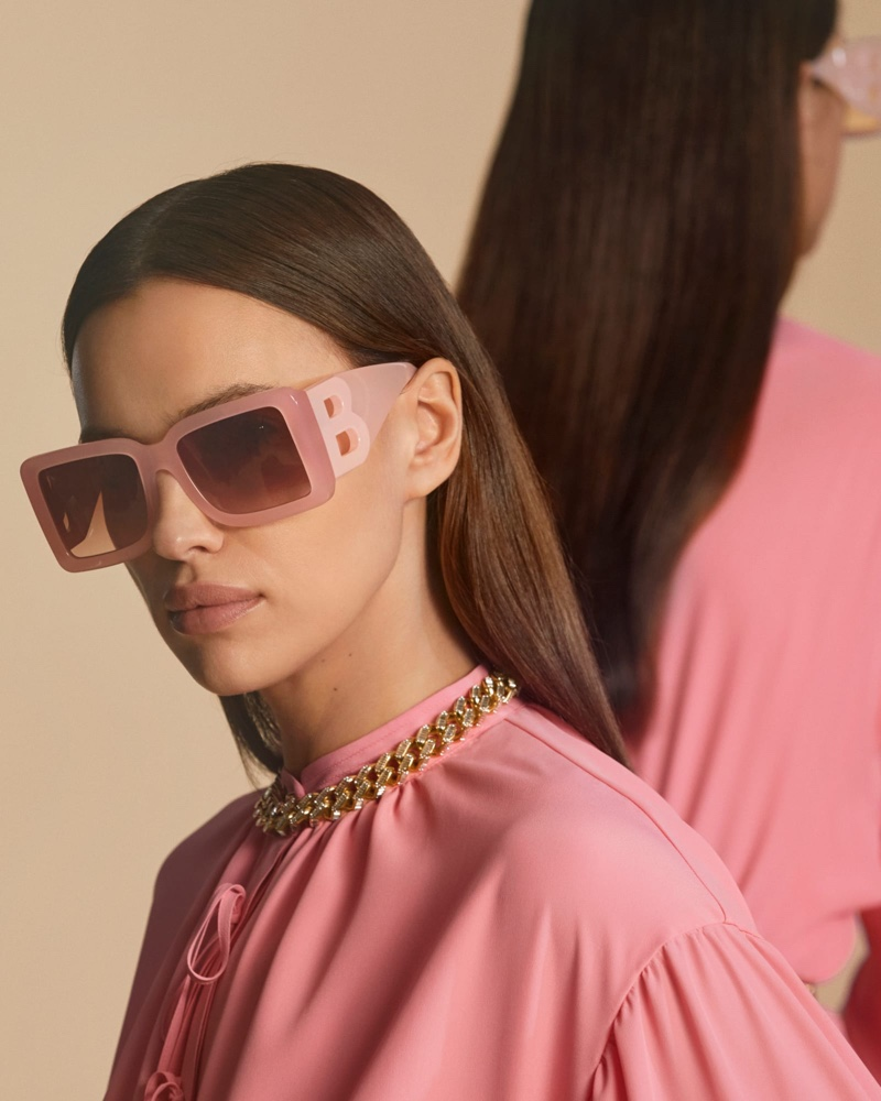 Irina Shayk poses in statement sunglasses for Burberry pre-fall 2020 campaign.