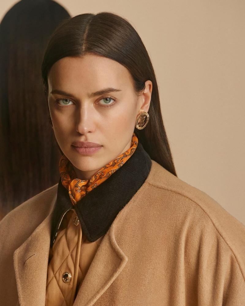 Irina Shayk gets her closeup in Burberry pre-fall 2020 campaign.