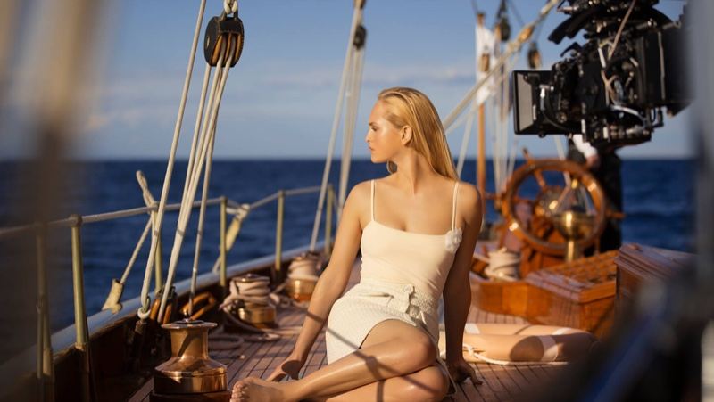 Model Jean Campbell poses on set of Chanel Les Beiges Summer Glow 2020 shoot.