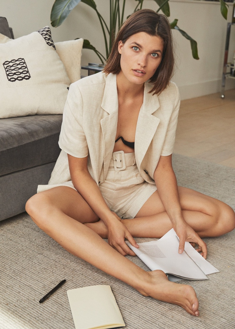 Julia Van Os poses at home for Mango summer 2020 trend guide.