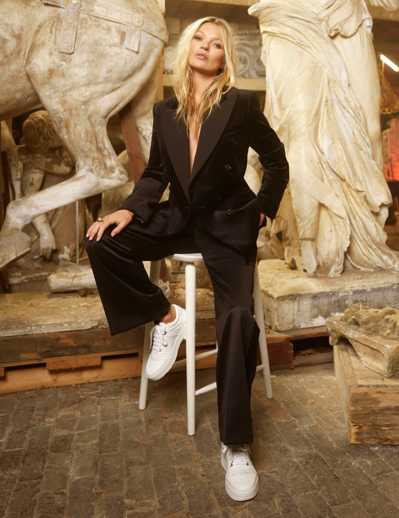 Suiting up, Kate Moss fronts Jimmy Choo pre-fall 2020 campaign.
