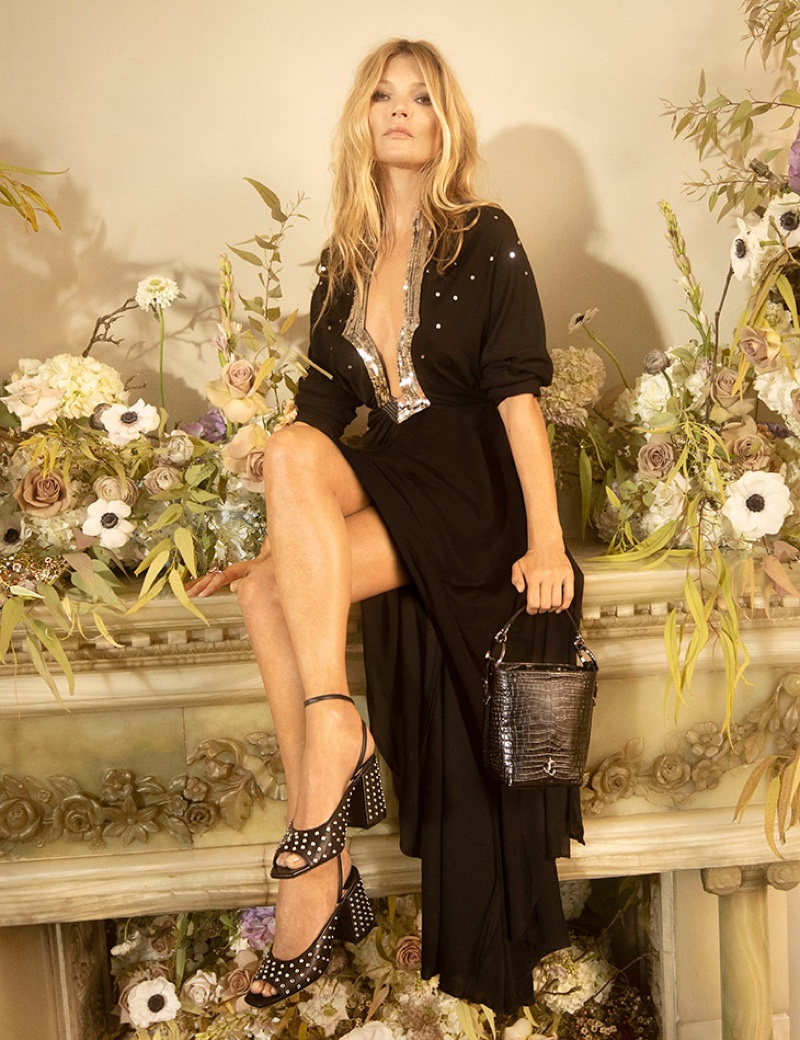 Jimmy Choo spotlights Jassidy sandals and Varenne Bucket bag in pre-fall 2020 campaign.