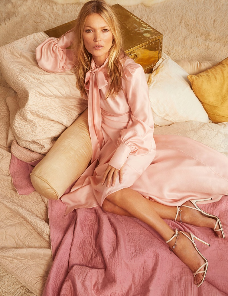 Looking pretty in pink, Kate Moss poses for Jimmy Choo pre-fall 2020 campaign.
