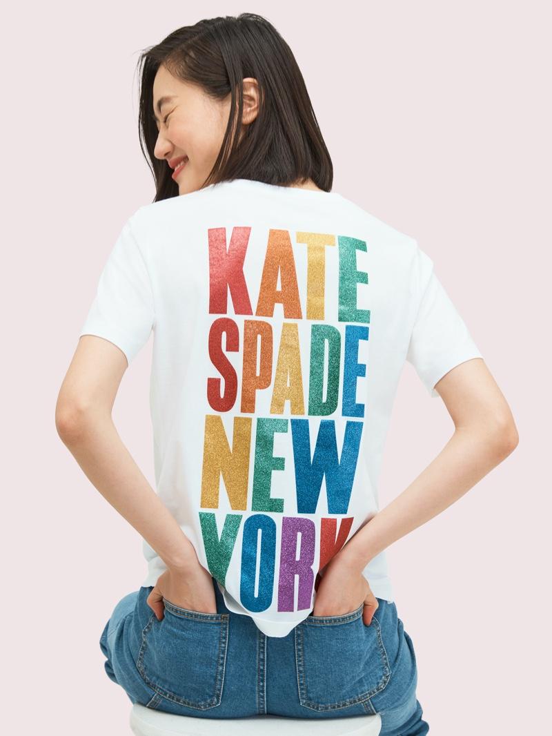 Kate Spade Rainbow Glitter Logo Tee $78