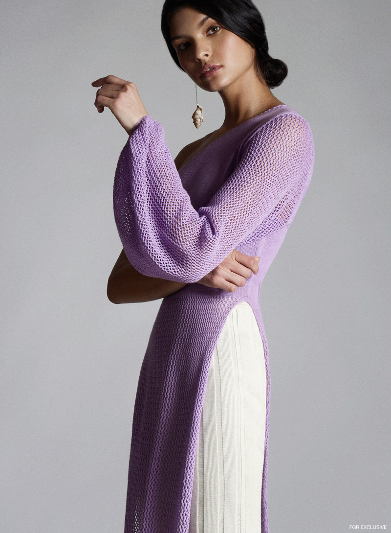 Abacaxi lavender asymmetrical tunic, Ajaie Alaie cream knit pants and SVNR shell earring. Photo: Willis Roberts