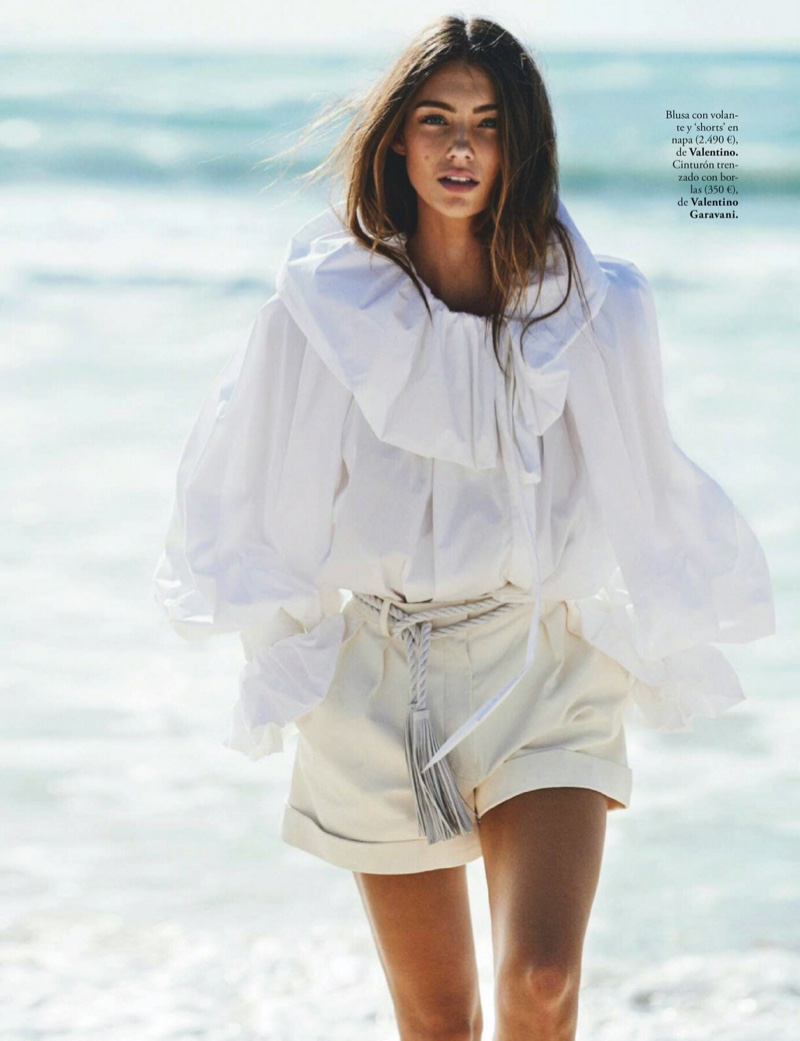 Lorena Rae Poses in White Outfits for ELLE Spain