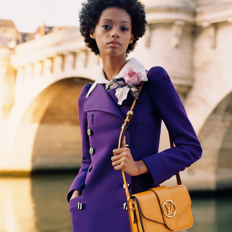 Blesnya Minher appears in Louis Vuitton LV Pont 9 handbag campaign.