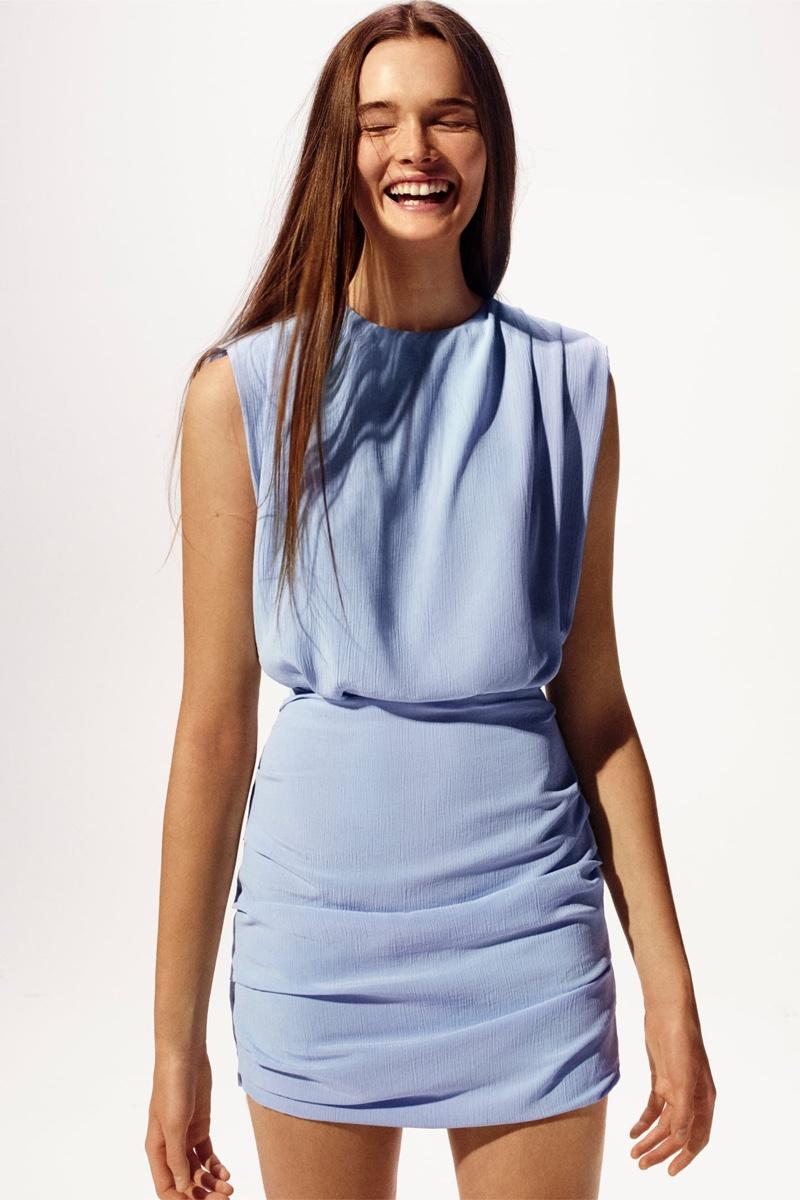 Zara Draped Detail Dress with Shoulder Pads.