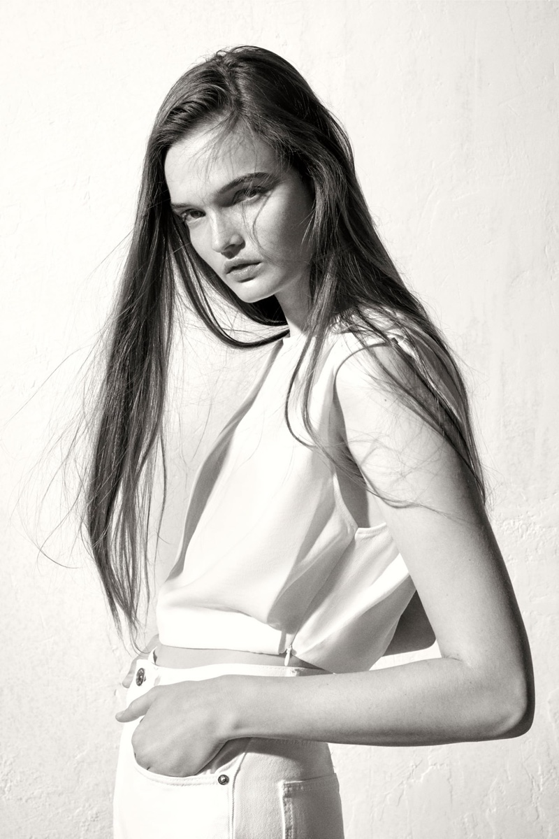 Zara Flowy Top with Shoulder Pads.