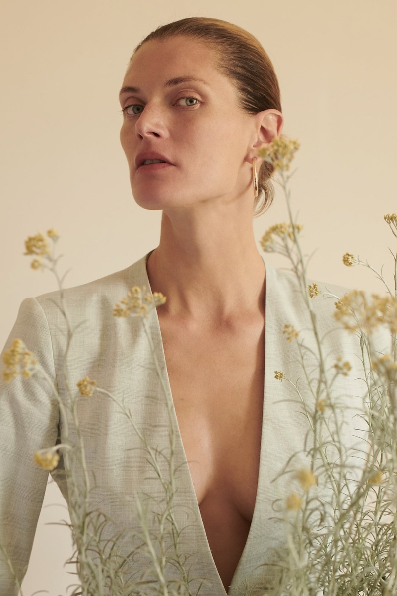 Malgosia Bela poses at home in Zara's summer 2020 collection.
