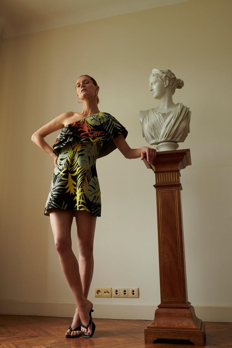 Zara Ruffled Jacquard Dress.