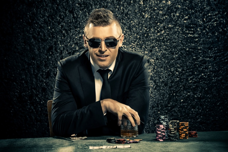 Man Casino Sunglasses Suit Water Table Chips