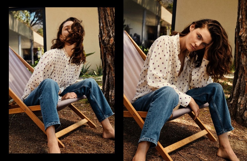 Model Marina Perez poses in casual styles for Massimo Dutti.