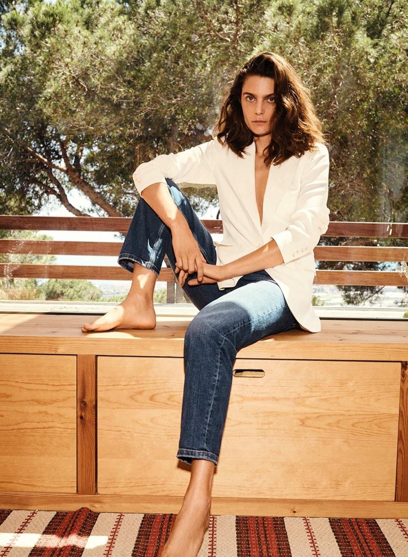 Massimo Dutti Crepe Single-Button Blazer and Mid-Rise Cigarette Fit Jeans.