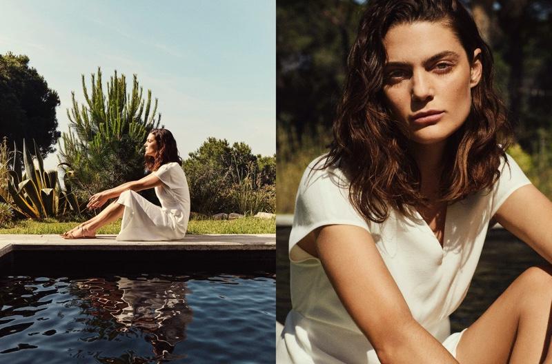 Model Marina Perez wears Massimo Dutti V-neck dress.