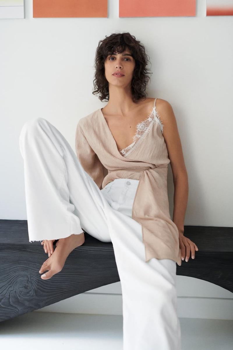 Zara Asymmetric Camisole Top and Wide Leg Pants.