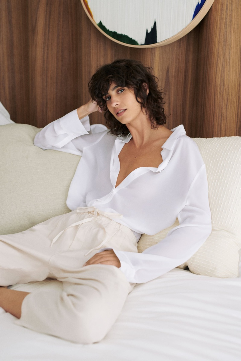 Mica Arganaraz poses in Zara's summer 2020 fashions.