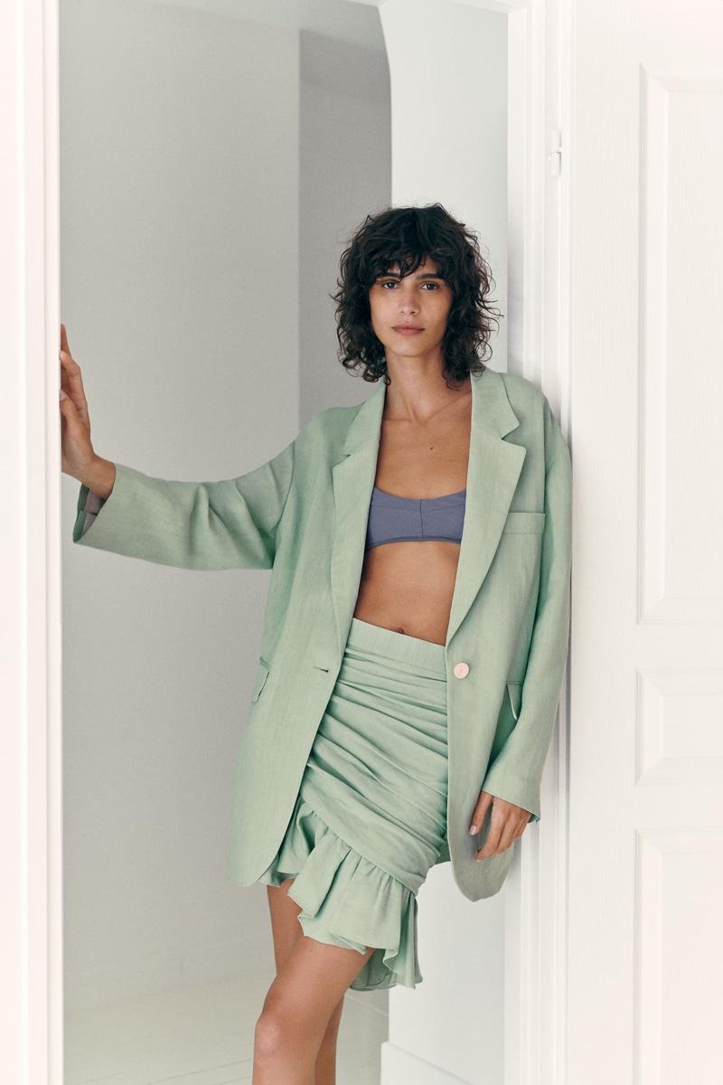 Zara Rustic Oversized Blazer and Draped Mini Skirt.