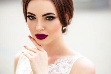 Model Beauty Makeup Bridal Purple Lips Closeup