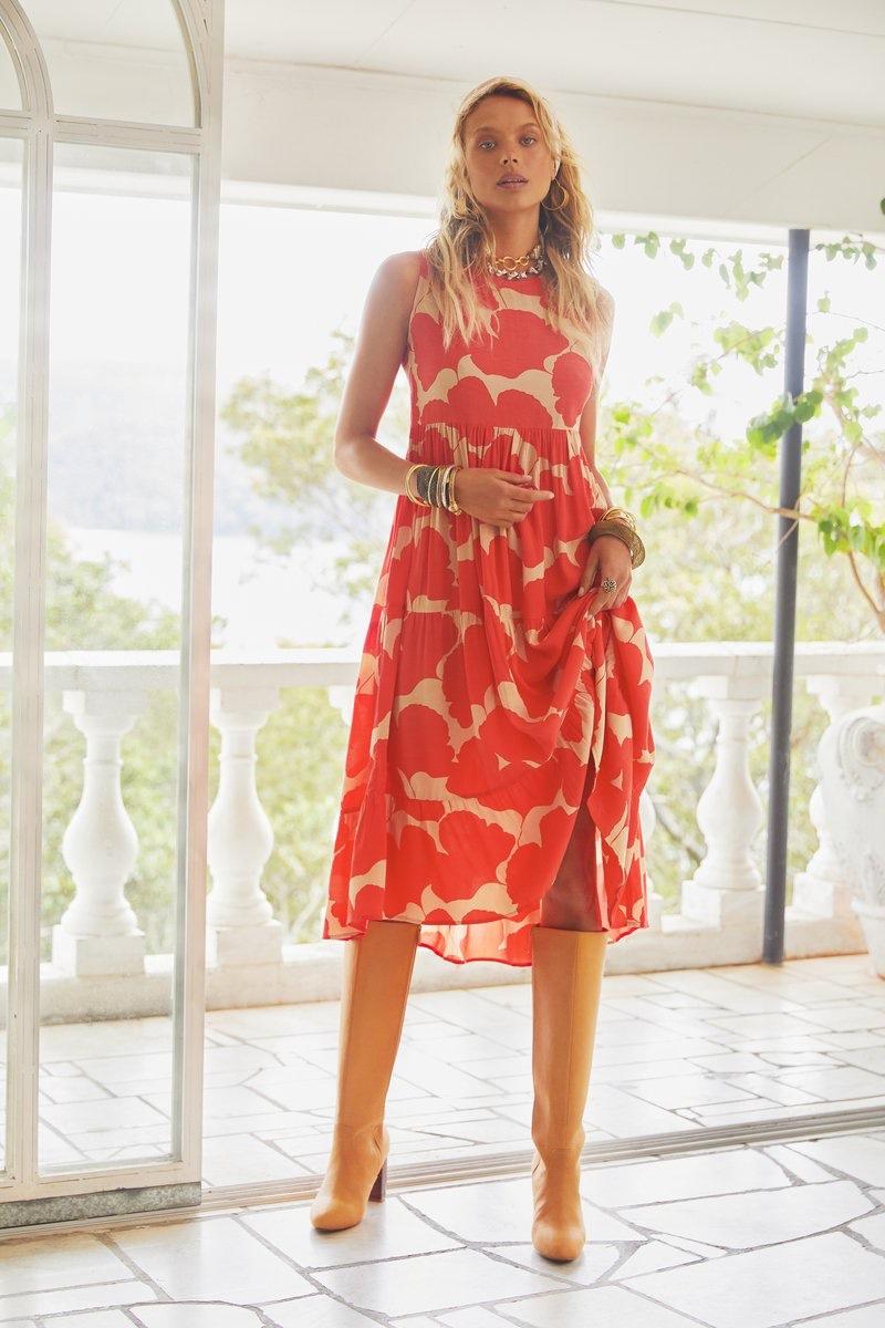 Mister Zimi Olivia Midi Dress in Dahlia.