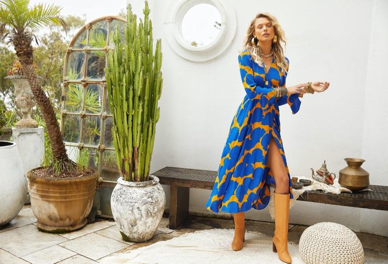 Victoria Germyn wears a wrap dress in Mister Zimi Casa summer 2020 campaign.