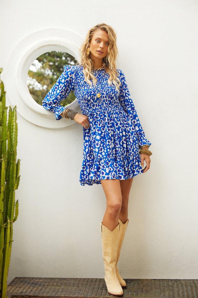 Mister Zimi Bianca Dress in Blue Leopard.