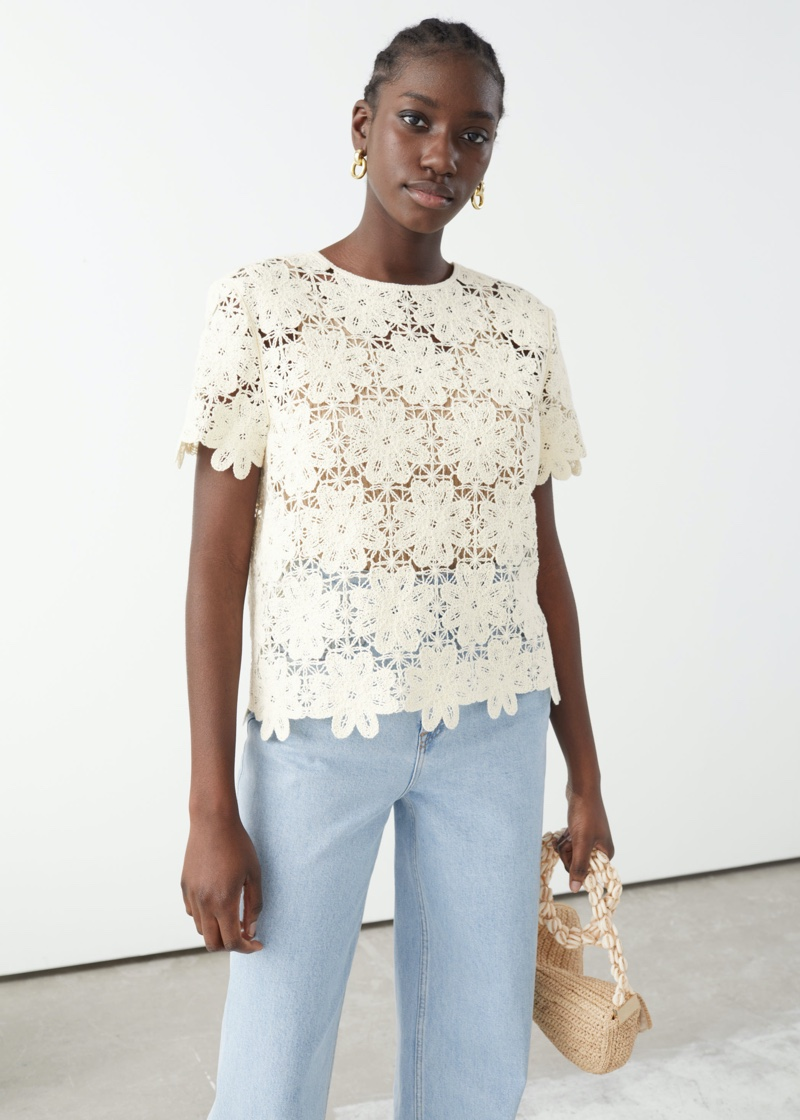 & Other Stories Crochet Lace Top $99