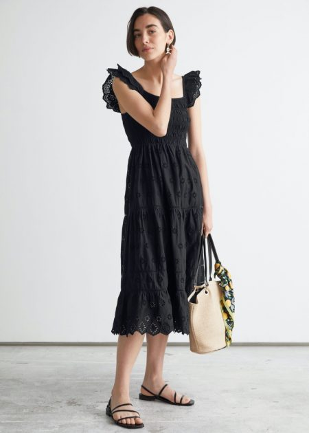 & Other Stories Embroidered Sleeveless Midi Dress $149