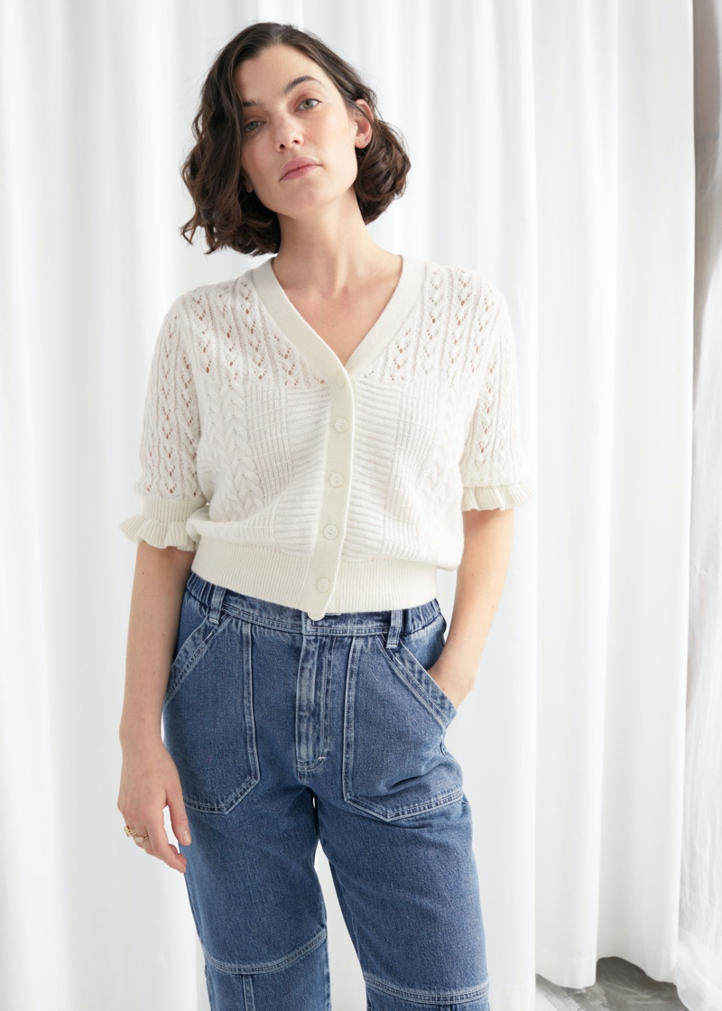 & Other Stories Eyelet Knit Cardigan $69