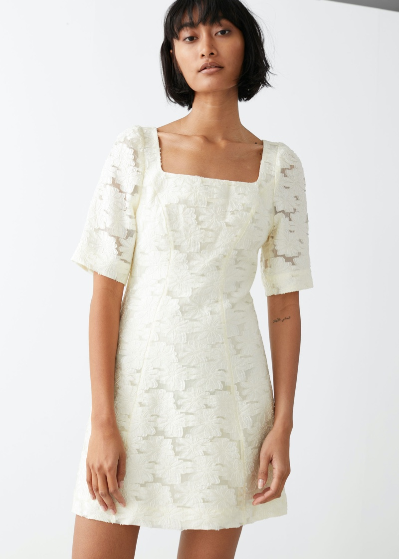 & Other Stories Flower Jacquard Mini Dress $129