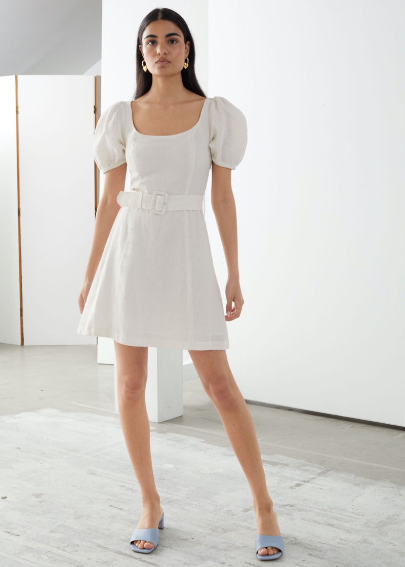 & Other Stories Linen Puff Sleeve Mini Dress $119
