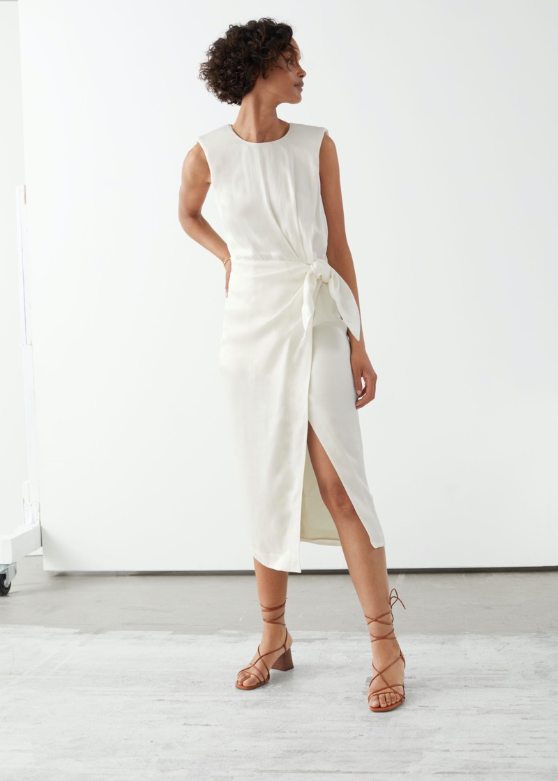 & Other Stories Satin Side Tie Midi Dress $129