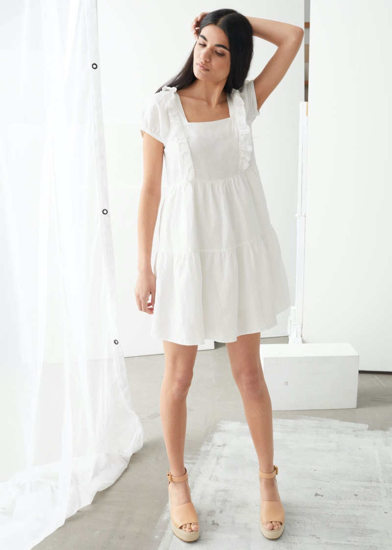 & Other Stories Tiered Ruffle Mini Dress in White $99